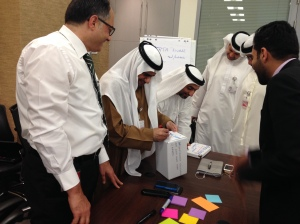 Workshop participants having fun with a design the box task.